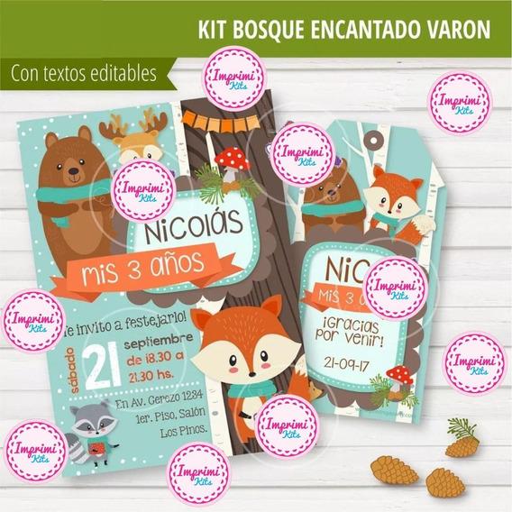 Kit Imprimible Animales Bosque Zorrito Editable