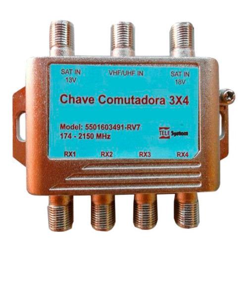 10 Chave 3x4 Switch Combinador De Sinal Satelite Com Digital