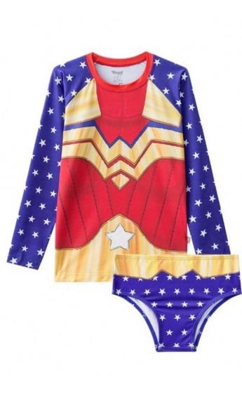 Biquíni Infantil Blusa Proteção Calcinha Mulher Maravilha