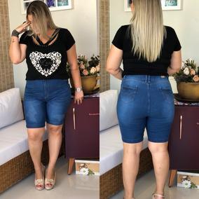 f90fa17d2a Bermuda Shorts Plus Size Com Lycra Hot Pants Jeans Gordinhas