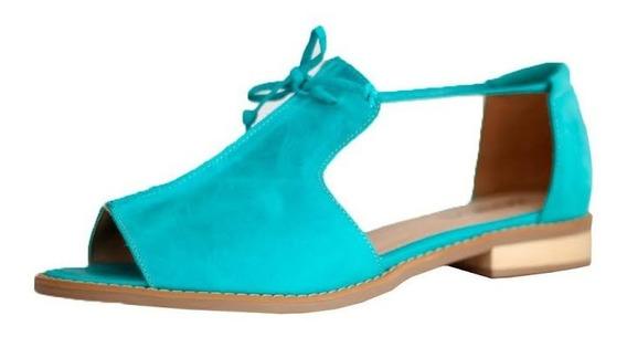Sandália Em Couro Estilo Retrô Vintage Rasteira Feminina Azul 4207