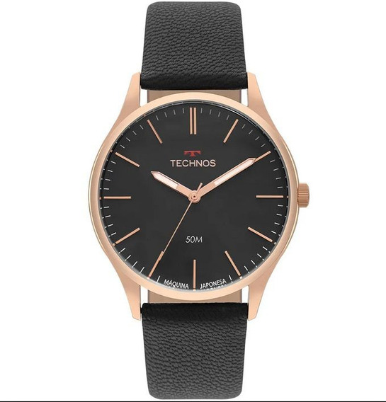 Relógio Masculino Technos Steel 2035mqg/2p Couro Preto C/ Nf