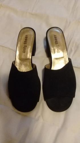 Suecos Zapatos Gamuza Negra