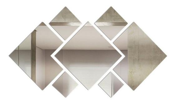 Espelho Decorativo Acrílico 110x55 Cm 7 Peças Sala 1013
