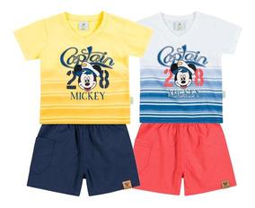 Conjunto De Verão Para Bebê Mickey - P / M / G - Brandili