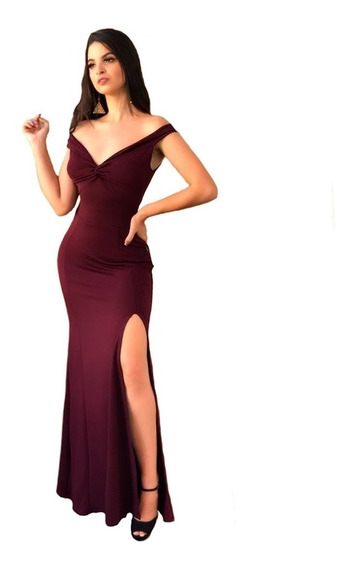 Vestido Longo Divo Decote Panicat E Fenda Moda Feminina 2019