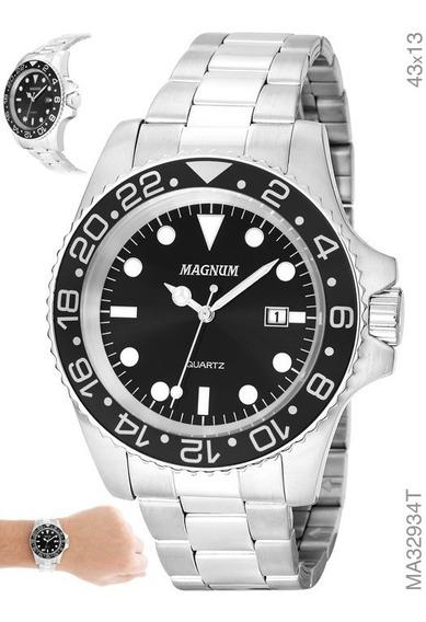 Relógio Masculino Em Aço Magnum Ma32934t Prata