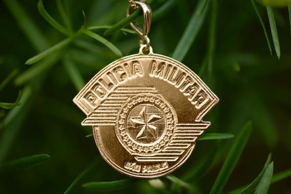 Corrente Pingente Policia Militar São Paulo Folheado A Ouro