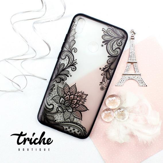 Funda Case Flor De Loto Negro Vintage Dama Huawei Y9 2019