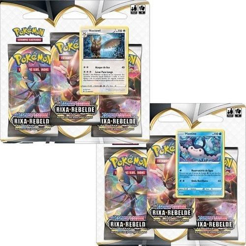 Kit Triple Pack Carta Pokemon Noctowl Mantine Espada Escudo
