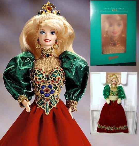 Rara Barbie Collector Porcelana Holiday Jewel 1995 Primeira