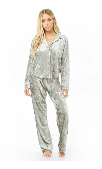 Forever 21 Pijama 2 Pzs Terciopelo Camisa Pantalon Gris S Ch