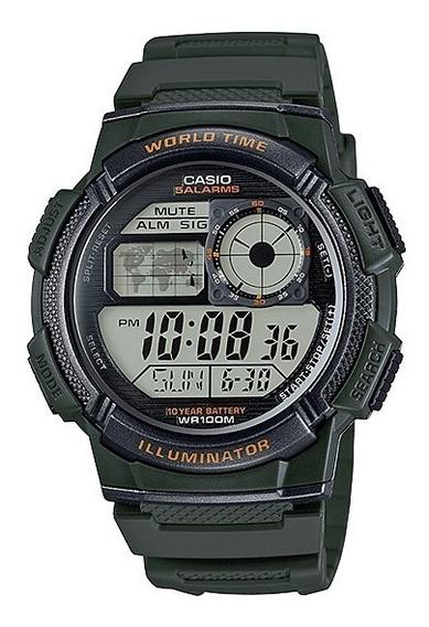 Relogio Casio Ae 1000w-cores Borracha Crono 5alarmes Wr100m