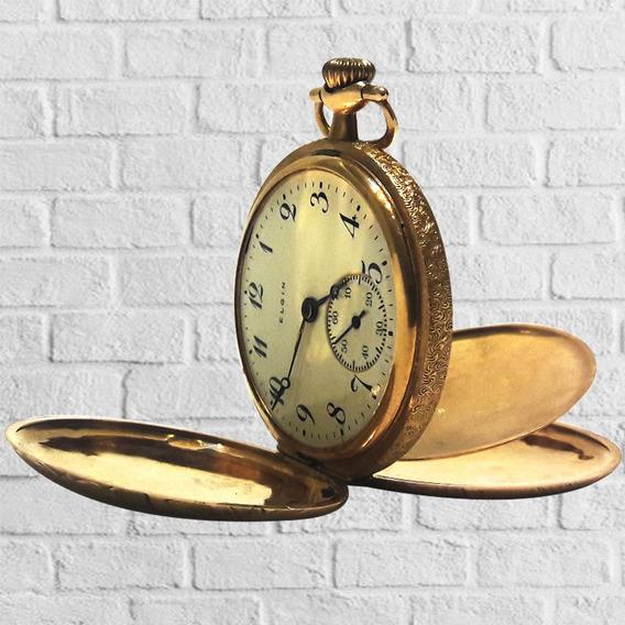 Reloj De Bolsillo Antiguo Elgin Hecho Con Oro De 14k