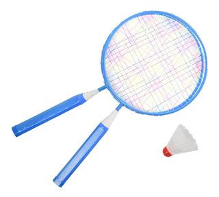 Kit Badminton Infantil 2 Raquetes E 2 Petecas Pista E Campo