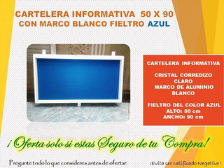 Cartelera Informativa De 50 X 90 Fieltro Azul