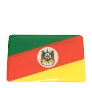 Adesivo Resinado Da Bandeira Do Rio Grande Do Sul 9x6 Cm