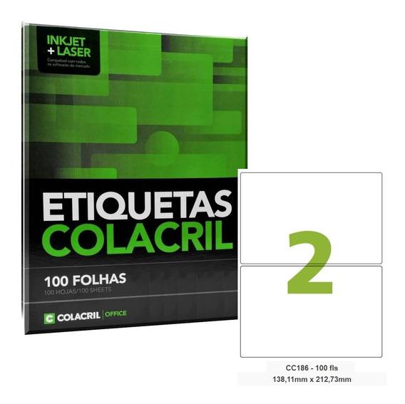 Etiqueta Adesiva 2 Por Folha 138,11x212,73mm 100 Folhas