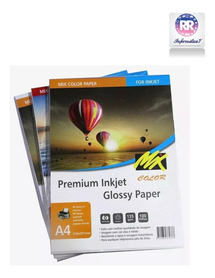 Papel Fotografico Glossy 135g 100 Folhas A4 Premium Mixcolor
