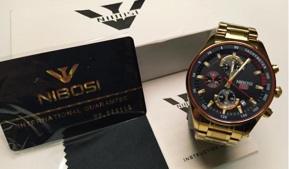Relógio Nibosi Original Com Cronógrafo 100% Funcional E Data