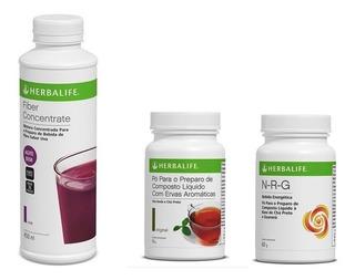 Chá Verde Herbalife 50g + Fiber Concentrate ( Fibra Liquida) + Nrg 60g - Produto Original