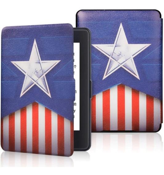 Capa Kindle Paperwhite 1 2 3 Modelo Antigo Capitão América Usa Eua Us Proteção Película Caneta Livro Vintage Luxo