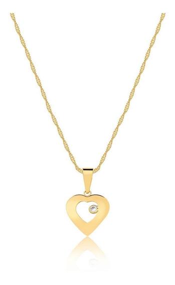 Corrente Ouro 18k 750 45cm Com Pingente Coração Com Zircônia