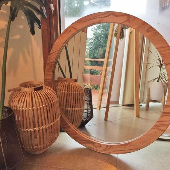 Espejo Circular Madera Paraiso Enchapado 60 Cm