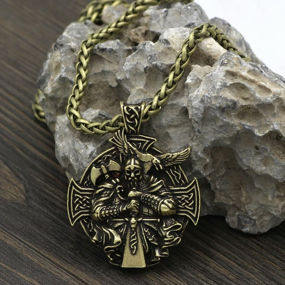 Collar Acero Inoxidable Odin Vikingo Nórdico Amuleto