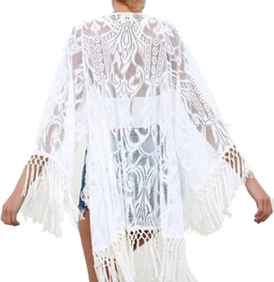 Camisa Playa Fashion Salida Baño Piscina Bordado Flecos 319