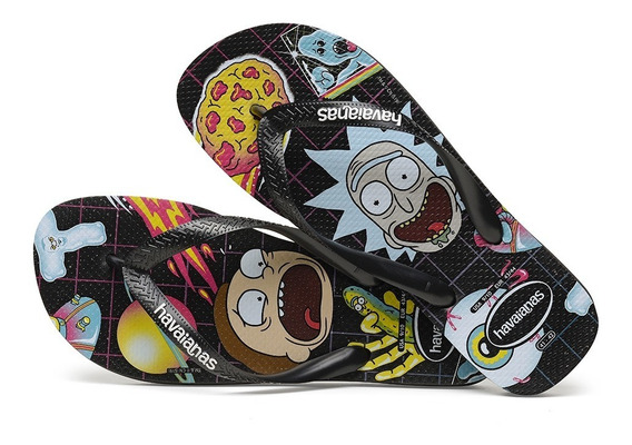 Chinelo Havaianas Top Rick And Morty Preto Coleção 2020