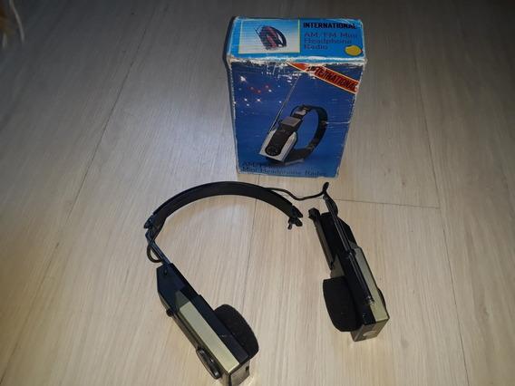 Rádio Am Fm Walkman Antigo Internacional Headfone Na Caixa