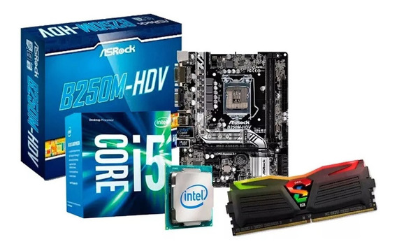 Kit Upgrade I5 7400, Placa Asrock B250, 8gb Ddr4 Led