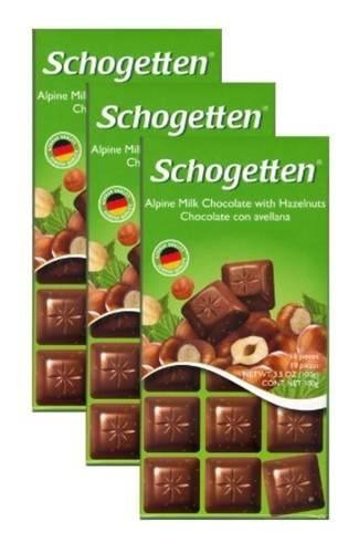 Chocolate Schogetten Ao Leite Amargo E Com Avelãs 12 Barras