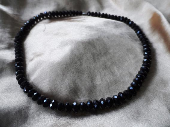 Lindo,elegante Colar Vintage Cristais Tchecos Negros,déc.80