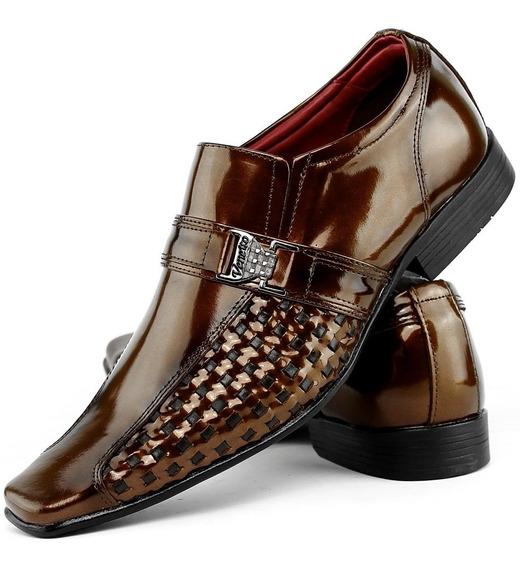 Sapato Social Casual Masculino Brilhoso Verniz Couro Franca