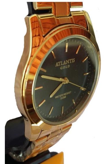 Relogio Feminino Dourado Atlantis Gold 3488 A Prova D