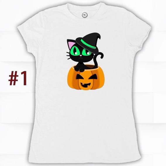 Blusa Halloween Gatito Calabaza Fantasma Para Mujer Niños