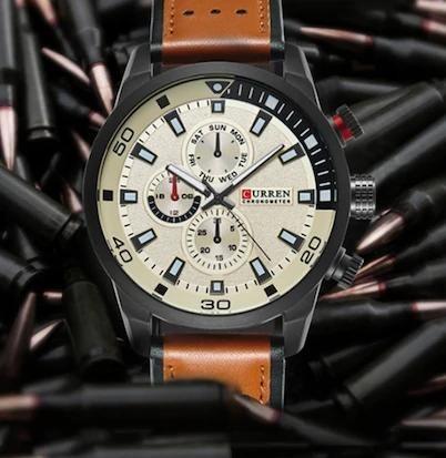 Relógio De Luxo Pulseira De Couro Moderno Sofisticado Curren