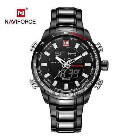 Relógio Masculino Preto Dourado Naviforce 9093 Prova De Agua