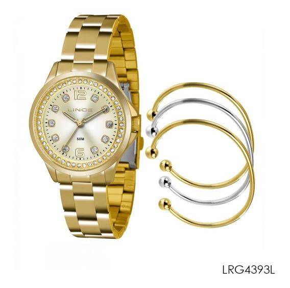 Relogio Lince Lrg4393l K198 Pulseira Dourada