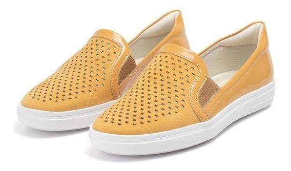Tênis Piccadily Slip On Iate Vazado Amarelo Mostarda 961027