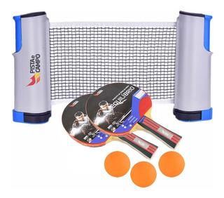 Kit Ping Pong E Tênis De Mesa Com Raquete Retrátil 1,60m