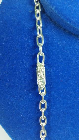 Cordão Prata Masculino 950 Maciço 36g 70cm 6mm Cadeado Adm