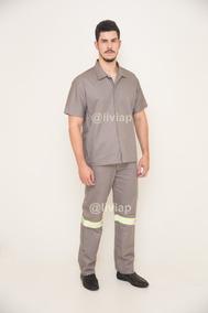 4 Conjuntos Camisa E Calça Brim Cinza Uniforme Operacional