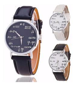 Relógio Pulso Símbolos Matemática Branco E Preto 3 Peças