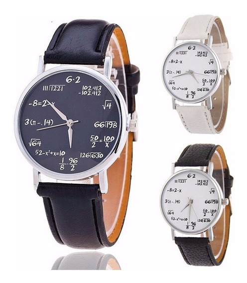 03 Relógios Pulso Símbolos Matemática Branco E Preto 3 Peças