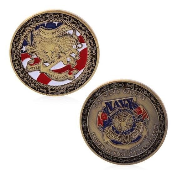 Moeda Comemorativa Emblema Eua Águia Marinha Guerra Golfo