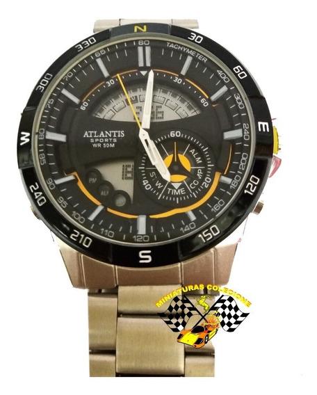 Relógio Masculino Original Prateado Atlantis A3303 Dourado