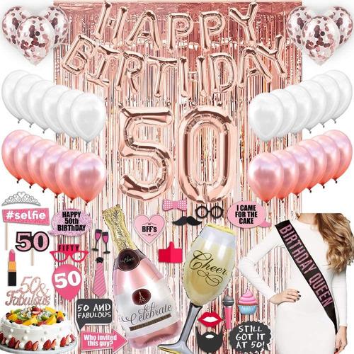 Imagen 1 de 6 de Decoraciones De Cumpleaños, Dorado Rosa Con Cortinas Platea